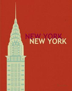 New York City, Chrysler Building -  Art Deco Vertical Art Poster Print Gift for Home, Nursery Room - style E8-O-NY4 via Etsy