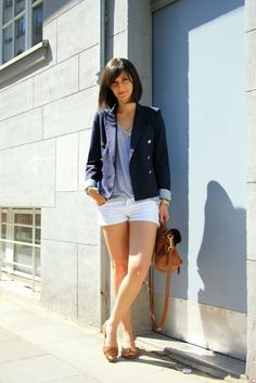 white shorts, navy blazer with gold buttons. Summer outfit perfection