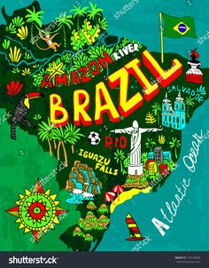 Art Print: Illustrated Map of Brazil by Daria_I : Brazil Wallpaper, Brazil Culture, Brazil Art, Brazil Carnival, Brazil Travel, Vogue Covers, Illustration, Graduation Pictures, Arte Pop