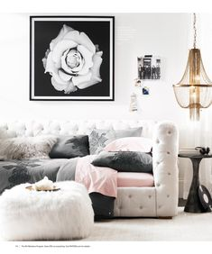 White, grey and pink with pop of brass