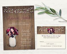 This rustic mason jar wedding invitation and RSVP set features a mason jar filled with beautiful burgundy purple roses and is completely draped with twinkling string lights. This is all featured on a rustic wood background with beautiful typography. This design is perfect for any season whether it be Spring, Summer, Fall or Winter.
