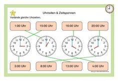 Kartei Uhrzeiten & Zeitspannen Map, Math Education, Teaching Ideas, Kindergarten, Location Map, Maps