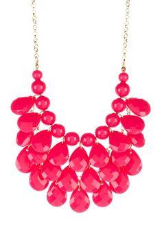 Pink Teardrop Statement Necklace by t+j Designs on @HauteLook