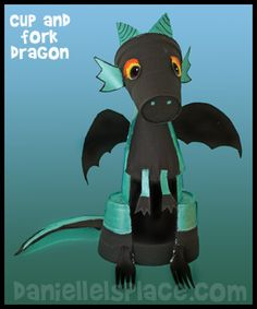 Dragon Cup, Fork, and Paper Plate Craft for Kids from www.daniellesplace.com