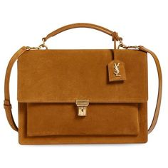 Women's Saint Laurent 'High School' Suede Top Handle Satchel ($2,150) ❤ liked on Polyvore featuring bags, handbags, lt ocre, suede handbags, brown satchel purse, flap purse, yves saint laurent handbags and brown purse