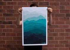 Mountain Calendar (Sea Green) from Etsy-shop pamlostracco.