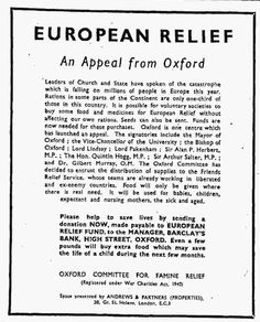 Oxford Committee for Famine Relief (OXFAM). 9 May, 1946.