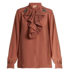 No. 21 Crystal-embellished ruffled-front crepe blouse ($578) ❤ liked on Polyvore featuring tops, blouses, crepe top, ruffle front top, crepe blouse, ruffle front blouse and brown top