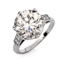 Antique 4.39ct European-cut Diamond 18K White Gold Engagement Ring Item #: 629201 - 6172169