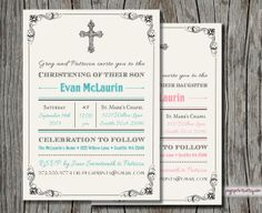 Baby Christening Invitation - Baptism Invite (Printable)