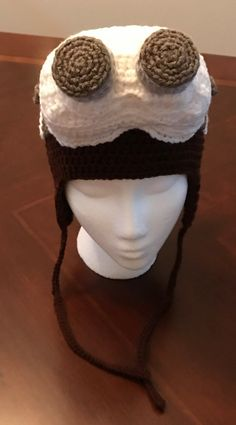 Ready To Ship Aviator Hat With Steampunk Goggles by CatDKnits