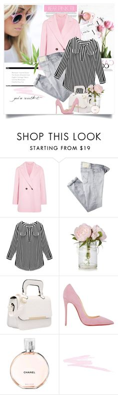 """""""You're Worth it"""" by ampie-jessica ❤ liked on Polyvore featuring Marella, AG Adriano Goldschmied, Christian Louboutin, Chanel, NARS Cosmetics, Pink, polyvorecommunity and IWearPinkFor"""