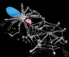 garnet, opal and diamonds spider and web pendant