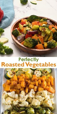 A how-to guide for making perfect Roasted Vegetables with a variety of veggies including Brussels sprouts, butternut squash, zucchini, cauliflower, and broccoli. recipes videos on a budget Roasted Vegetables Roasted Vegetable Recipes, Broccoli Recipes, Cauliflower Recipes, Boiled Vegetables Recipe, Oven Roasted Vegetables, Grilled Vegetables, How To Roast Veggies, Veggie Food, Mixed Veggie Recipes