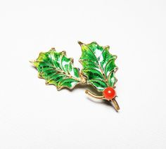 Vintage Christmas Holly Pin  Italian Plique A by LorettasCache