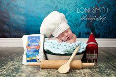 Hmmmm....  Baby White Chef Hat - Crochet Newborn NB Beanie Boy Girl Costume Halloween Thanksgiving Photo Prop Cap Winter Outfit