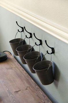 Kids Art Supply Buckets on Hooks Use cubical hooks and hang succulents Buckets on Hooks, I want to use this for an indoor herb garden Fence Planters, Outdoor Planters, Garden Wall Planter, Hanging Wall Planters, Hanging Herbs, Culture D'herbes, Muebles Shabby Chic, Herbs Indoors, Diy Storage