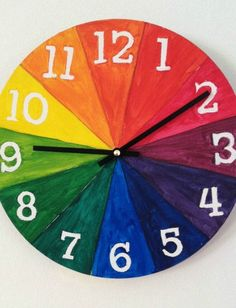 Here's a color wheel for kids project that gives you an awesome finished functional product- a clock! (Cool Art For Kids) Make A Clock, Clock For Kids, Diy Clock, Art For Kids, Kids Clocks, Color Wheel Design, Color Wheel Art, Color Wheel Projects, Clock Craft