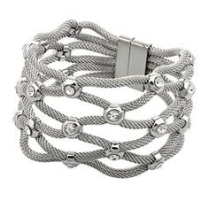 COPAUL Fashion Stainless Steel Silver Crystal Rhinestone Nets Shape Bracelets *** We appreciate you for having viewed our photo. (This is our affiliate link) Cute Bracelets, Silver Bracelets, Fashion Bracelets, Fashion Jewelry, Link Bracelets, Women's Fashion, Crystal Rhinestone, Swarovski Crystals, 316l Stainless Steel