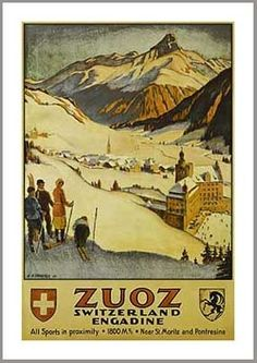 Zuoz Switzerland Vintage Swiss Art Deco Ski Poster