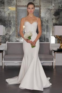 Silk Crepe Wedding Gown with Corset Bodice and Fluted Skirt