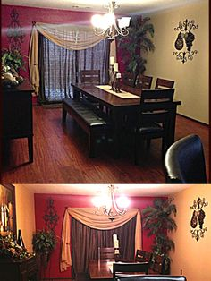 Dinning Room Decor.. Love the way the doors are dressed up with great draping !
