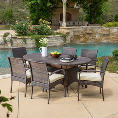 Best Outdoor Wicker Patio Furniture for your Home! We love Wicker Furniture for a patio because it is beautiful, durable, and luxurious. You can quickly upgrade a coastal patio with a wicker furniture set or wicker dining set. Wicker Dining Set, Round Dining Set, 7 Piece Dining Set, Outdoor Dining Set, Patio Dining, Outdoor Living, Outdoor Decor, Dining Sets, Dining Chairs