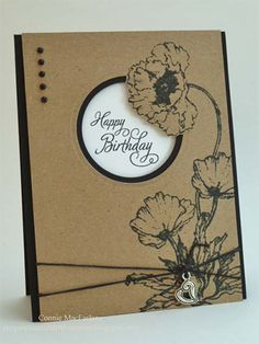 handmade made card: Poppy-Patch ... kraft with black and white ... like the layout ....