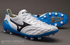 Mizuno Football Boots - Mizuno Morelia Neo MD - Firm Ground - Soccer Cleats - White-Black-Diva Blue