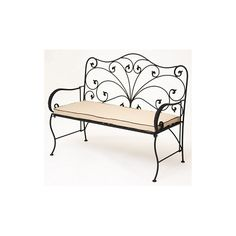 Iron Patio Bench | JJ International Allysandra Wrought Iron Garden Bench