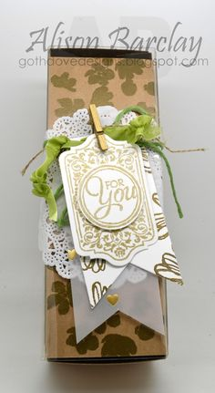 Gothdove Designs - Alison Barclay - Stampin' Up! Australia - Stampin' Up! Mother's Day Gift Box using Chalk Talk, Painted Petals and Flower Shop stamp sets. Lots of gold embossing! The box is from the Tag A Bag Gift Box pack