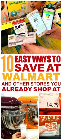 These 10 Ways to Save at Walmart and other stores are THE BEST! I'm so glad I found these AWESOME tips! Now I have great ways to save at stores! Definitely pinning!
