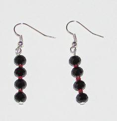 Black and Red Glass Drop Silver Plated Earrings by InkyVeneer on Etsy