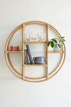 Vintage inspired rattan shelf.