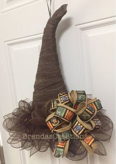 Harry Potter Inspired Wreath Witch Hat Decoration Front Door