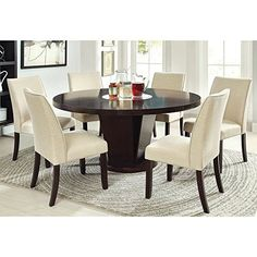 Furniture of America Vessice 7Piece Round Pedestal Dining Set  Espresso * See this great product.Note:It is affiliate link to Amazon.