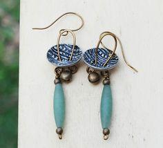 Natural Green Aventurine Gemstone Metal Bell Button Antique Bronze Earrings #Jeanninehandmade #Wrap