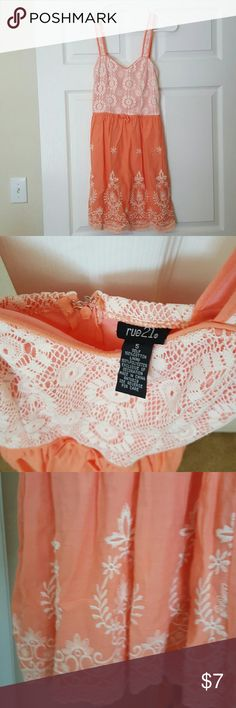 Crochet salmon and white dress Knee length salmon and white rue21 dress. Never worn. Super cute but I don't wear dresses. No snags or tears. Rue 21 Dresses Mini