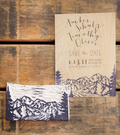 Mountain save the date features block printed Northwest mountains on wood veneer. Hand carved image of Mt. Jefferson, Mt. Adams, Mt. Hood, Mt. St. Helens and Mt. Rainier
