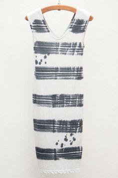 White Tie Dye Sleeveless Dress