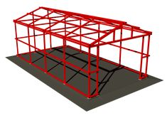Каркас из профильной трубы для гаража Steel Trusses, Steel Columns, Roof Trusses, Metal Garage Buildings, Metal Garages, Metal Building Kits, Metal Working Tools, Solidworks Tutorial, Balcony Grill Design