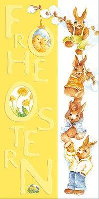 #Osterkarte mit gemalten #Osterhasen. Bedruckter strukturierter Karton. Kuvert in naturweiß