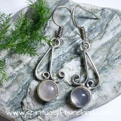 Silver GUARDIAN Angel EARRINGS Rose QUARTZ Hook Drop Spiritual LOVE