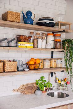 Spring Cleaning Series: Organising Your Pantry - Zoella Kitchen Storage Hacks, Kitchen Organization Pantry, Kitchen Hacks, Kitchen Decor, Kitchen Design, Storage Jars, Kitchen Cupboards, Kitchen Pantry, Ikea Kitchen Shelves