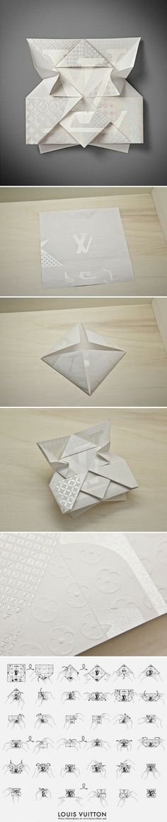 Louis Vuitton have commission the design and print of a truly beautiful origami invitation for a new flagship store opening in Osaka. The design (of the paper object itself) is Federico Galvani of Ogilvy & Mather, Paris.