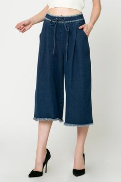 Cropped denim pants with wide legs and a drawstring waist.    Cropped Denim Pants by Movint. Clothing - Bottoms - Jeans & Denim - Flare & Wide Leg Los Angeles, California