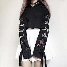 White/Black Harajuku Short Hoodie Jumper S12934