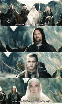 A few things wrong with this scene: 1) Legolas forgot his contacts and 2) the guy on the far left was supposed to be Eomer. He couldn't come that day so they used a stand-in, in the plans that they were going to do a head swap later, but they forgot to do it.<< never knew that....