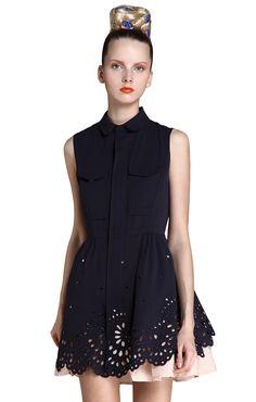 Navy Sleeveless Hollow Embroidery Zipper Dress Blouse Dress 32bea1361