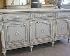 Detailed, French Country Credenza/ Sideboard   Painted Furniture